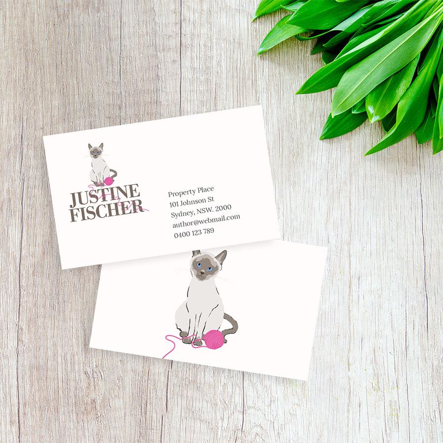 Justine Fischer, Author. Business Card Design.