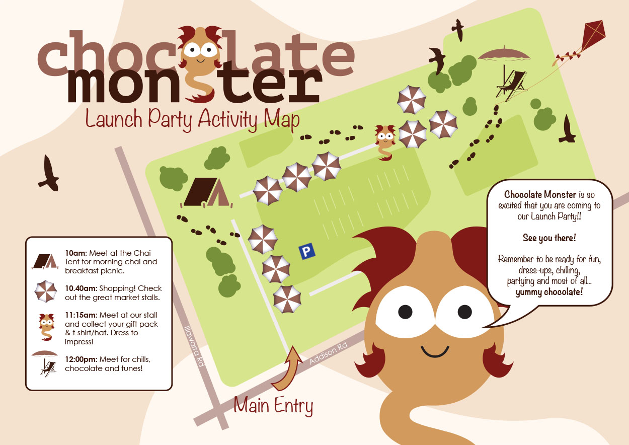 Moon Cube Design, Graphic Design. Map, Chocolate Monster.