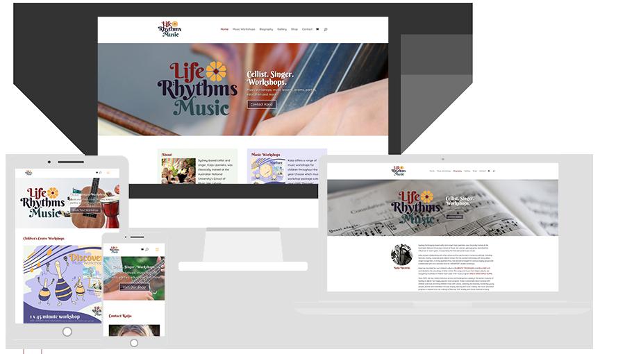 Website Design, Life Rhythms Music.